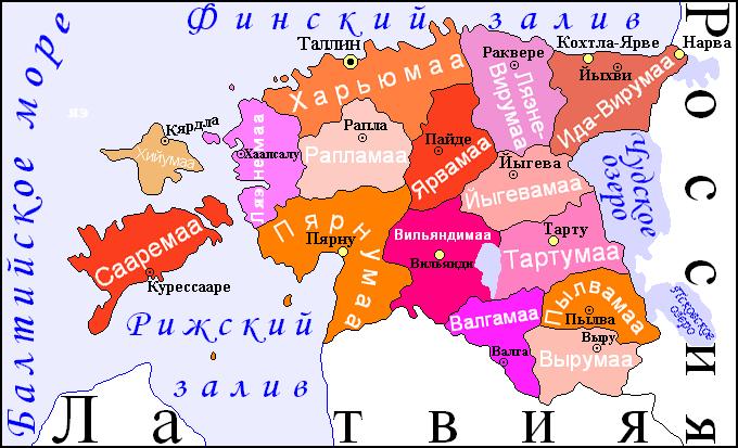 Карта уездов